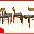 6 <b>chaises</b> scandinaves en teck blond 1960