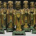 A rare set of gilt-lacquer and <b>polychrome</b> bronze figures of the nine emperor gods, China, Ming dynasty