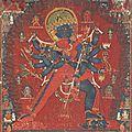 A painting of <b>Chakrasamvara</b> and Vajravarahi, Nepal, dated 1513