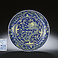 An underglaze-<b>blue</b> <b>ground</b> <b>yellow</b>-<b>enamelled</b> 'dragon' dish, Qianlong six-character sealmark and of the period (1736-1995)