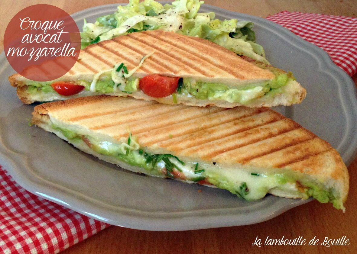 Croque avocat mozzarella