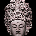 A rare limestone head of guanyin, 12th-13th century