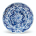 A large blue and white 'dragon' dish, Wanli six-character mark and of the period (1573-<b>1619</b>)