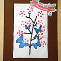 Tableau: le cerisier en empreintes pour la fête des mères