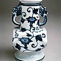 Faceted vase with morning glories, Ming dynasty (1368-1644), Reign of the <b>Xuande</b> emperor (1426-1435)
