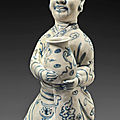 A very rare blue and white kneeling figure of an official, Vietnam, <b>15th</b>-<b>16th</b> <b>century</b>