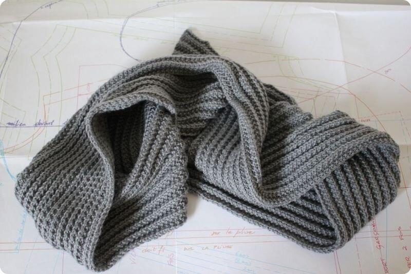 tricoter une echarpe fausse cote anglaise