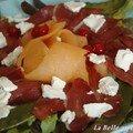 Salade de melon au magret de canard fumé, sans blé, sans lait de vache
