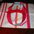 sac à tarte rayé rose et gris