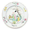 Plat en porcelaine de la famille rose, dynastie qing, époque yongzheng, ca. 1730