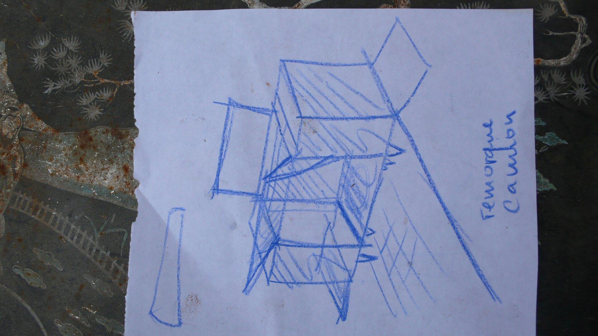 dessin idée non réalisée pour cabanons toilettes privée sur camping