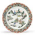 A large wucai dish, Qing Dynasty, Kangxi period (1662-1722)