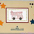 carte d'anniversaire garçon avec camion de pompiers
