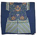 Uncut yardage for an embroidered blue silk ground dragon robe, jifu, late qing dynasty