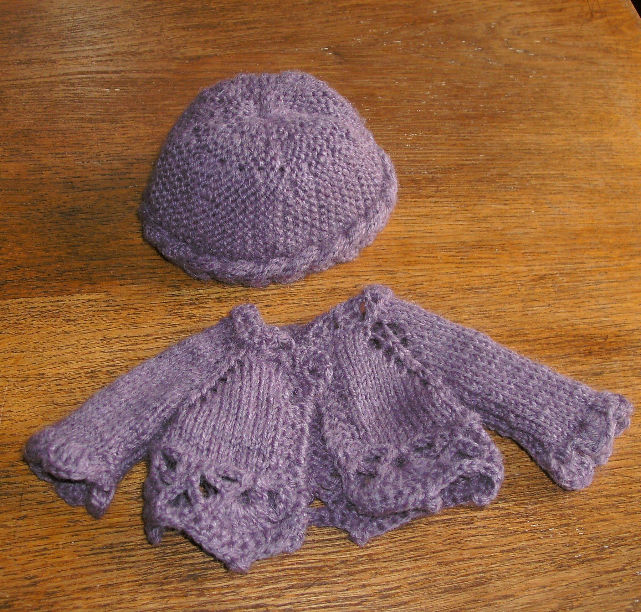 violet pour bonnet et gilet