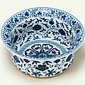 A very rare and finely painted Ming blue and white basin, Yongle period