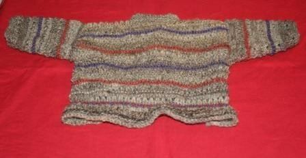 Back of Baby cardigan from handspun