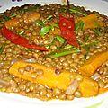Lentilles vertes en sauce rouge aux petits piments ( recette marocaine )