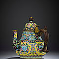 A superb <b>Beijing</b> enamel wine-pot and cover, Yongzheng four-character mark and of the period (1723-1735)