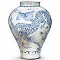 A Blue and White Porcelain Dragon Jar, <b>Joseon</b> <b>Dynasty</b>, 19th century