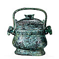 An Archaic Bronze Ritual Wine Vessel And <b>Cover</b>, You, Western Zhou Dynasty, 1050-771 B.C.