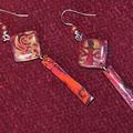 Boucles d'oreilles en hidden couleurs rouge-orange façon meriem