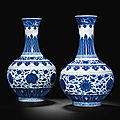 Two blue and white bottle vases, Guangxu six-character marks in underglaze blue and of the period (1875-<b>1908</b>)