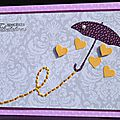38. mauve, gris, jaune et violet - parapluie et pluie de coeurs