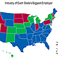 usa emploi Industry of Each State's Biggest Employer