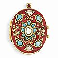 A turquoise, <b>gemset</b> <b>and</b> <b>enamelled</b> <b>gold</b> pendant, India, late 19th-early 20th century