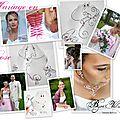 Colliers et bijoux mariage en fil agenté et perles roses fuchsia ou rose tendre