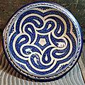 Plat Marocain Maroc Bleu <b>FEZ</b> Décor Boteh Cachemire 28,5cm / MA23