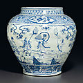 A large blue and white '<b>Windswept</b>' jar, guan, Ming dynasty, mid-15th century
