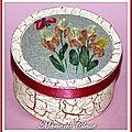 Boîite dessus brodé rubans taffetas Iris et papillons 1