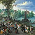 Jan Brueghel I, Figures dancing on the bank of <b>a</b> river with <b>a</b> fish-<b>seller</b>, with <b>a</b> portrait of the artist in the foreground