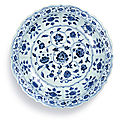 A blue and white '<b>Floral</b>' <b>charger</b>, Ming dynasty, Yongle period (1403-1424)