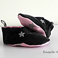Chaussons velours Gris Rose tendre Etoile