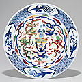 A rare wucai 'Dragon' dish, Wanli six-character mark in underglaze blue within a double circle and of the period (1573-<b>1619</b>)