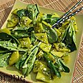 Salade de mâche et mangue marinée au thé matcha