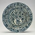 Large safavid blue and white charger, iran, 17th century