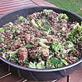 Lentilles vertes, brocolis & saucisse
