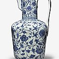 An exceptionally rare <b>and</b> important blue <b>and</b> white ewer, <b>Xuande</b> <b>mark</b> <b>and</b> <b>period</b> (1426-1435)