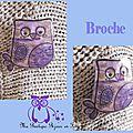 Broche chouette violette