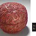 A carved red lacquer 'Nine dragon' box and <b>cover</b>, Qianlong six-character incised and gilded mark and of the period (1736-1795)