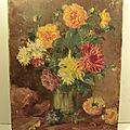 <b>Tableau</b> Ancien Nature Morte Bouquet de Fleurs Signé Gaston Durel 1907