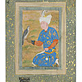 A kneeling prince, Bukhara, Late 16th century and <b>Mughal</b> <b>India</b>, 17th century