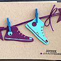 35. kraft, turquoise et violet - baskets suspendues