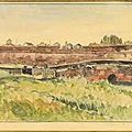 Vue de Mang Cá, aquarelle de <b>Gaston</b> <b>Roullet</b>, Huế 1885.