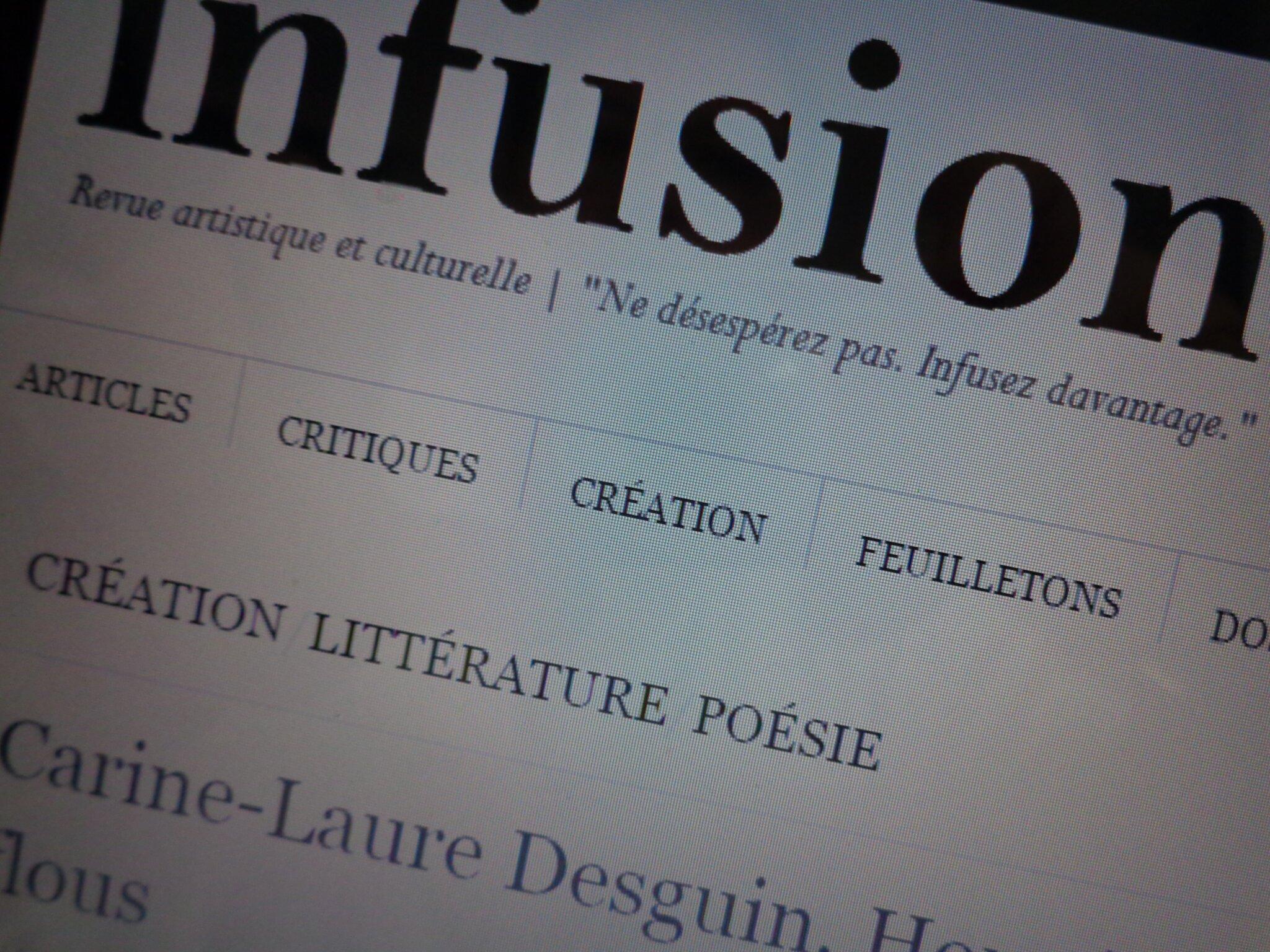 Dans Infusion revue, Hormis l'ombre et le flou, un texte de C.-L. Desguin
