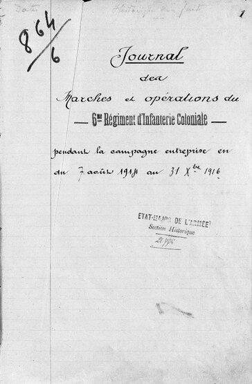 JMO 6e Rgt Inf coloniale sept 1914